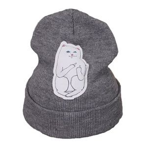 Unbranded | Flipping Off Cat Beanie Hat Grey Funny